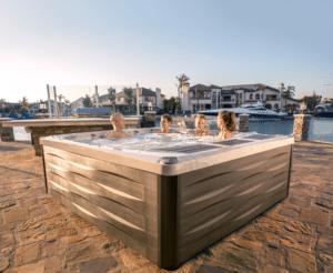 Family spending time in their Sundance Spas hot tub.